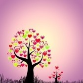 6182971-abstract-trees-with-hearts-on-pink-purple-background