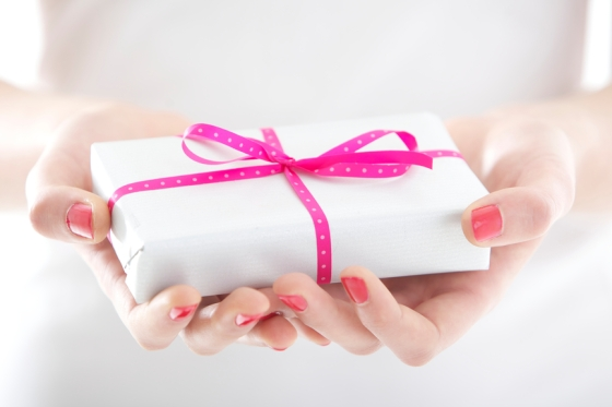 Hands holding beautiful gift